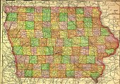 Iowa,Map,county,state,Single Object,Studio Shot,Old,Old-fashioned,Travel Locations,Paper,handcarves,Horizontal,International Border,Iowa Map,People,No People,Antique,Physical Geography,Color Image,History