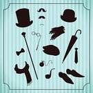 Scarf,Top Hat,Tie,Retro Revival,Cane,Costume,Glove,Hat,Silhouette,Mustache,Bowler,Old-fashioned,Male,Black Color,Men,Shoe,Bow Tie,Eyeglasses,Ilustration,Painted Image,People,Fashion,Umbrella,Backgrounds,Classic,Collection,Part Of,Shape,Design,Single Object,Set,Group of Objects,Beauty,Vector,Isolated,Old,Symbol,Elegance,Pipe,Sketch