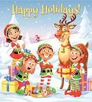 Christmas,Cartoon,Elf,Santa Claus,Skiing,Humor,Vector,Assistance,Child,Greeting Card,Little Girls,Snow,People,Cute,Landscape,Animal,Winter,Gift,Scenics,Text,Vertical,Rudolph The Red-nosed Reindeer,Group Of People,Ilustration,Tree,Sky,Characters,Laughing,Snowflake,Little Boys,Nature,Toy,Day,White,Christmas Present,Mountain,Copy Space,Reindeer,Small,Blue,Season,Happiness,Deer,Standing,Full Length,Looking At Camera,Outdoors,Cheerful,Snowing,Holiday
