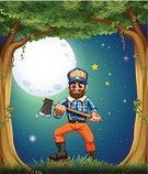 Full,Gift,Axe,Lumberjack,Surrounding,Men,Fullmoon Maple,Forest,Night,Tree,Computer Graphic,Little Boys,Circle,Beard,People,Plant,Tropical Rainforest,Mustache,Image,Sphere,Nature,Outdoors,Wealth