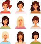 Avatar,Female,People,Women,Hairstyle,Curly Hair,Human Face,Characters,Teenager,Vector,Human Hair,Cute,Teenage Girls,Hair Color,Beauty,Beautiful,Human Head,Ponytail,Portrait,Computer Icon,Bangs,Brown Hair,Young Adult,Redhead,Ilustration,Blond Hair,Isolated