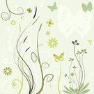 Flower,Butterfly - Insect,Floral Pattern,Backgrounds,Vector,Springtime,Leaf,Animal,Abstract,Plant,Clover,Green Color,Nature,Growth,Silhouette,Ilustration,Branch,Ornate,Design Element,Drawing - Art Product,Pastel Colored,Stem,Elegance,Curve,Bush,Curled Up,Concepts,No People,floral ornament,Nature,Insects,Illustrations And Vector Art,Pastel Green,Plants,Animals And Pets