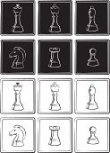Chess Piece,Black Color,White,Strategy,Sport,Competitive Sport,Tracing,Chess,Silhouette,Drawing - Activity,Chess Pawn,Play,Leisure Games,Set,Chess Rook,Chess Bishop,Chess King,Chess Queen,Chess Knight,Figurine