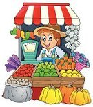 Market,Market Stall,Vegetable,Kiosk,Fruit,Selling,Farmer,Farm,Business,Cheerful,Store,Food,Vector,Ilustration,Art,Isolated,Male,Men,Healthy Eating,Agriculture,One Person,Computer Graphic,Working,Looking,Freshness,Variation,Eps10,Clip Art,Drawing - Art Product,Happiness,Smiling