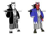 Anthropomorphic,Group Of Animals,Samurai,Ilustration,Mane,Chinese Zodiac Sign,Livestock,Mammal,Front View,Black And White,Sword,Kimono,Full Length,Japanese Culture,Horse,Animal,Humor,Aggression,Cute,Color Image,Standing,Cutting,Fighting