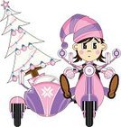 Retro Revival,Old-fashioned,Fairy Tale,Side-View Mirror,Stationary,Christmas Ornament,Motor Scooter,Elf,Hat,Handlebar,Fantasy,lambretta,Classic,Mirror,Transportation,Single Object,Modern,Wheel,Knit Hat,1960s Style,Glove,Italian Culture,Front View,Sidecar,Mode of Transport,Christmas Tree,Brake,Vector,Riding,Funky,1940-1980 Retro-Styled Imagery,Vespa,Isolated