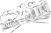 Drawing - Activity,Urban Skyline,Construction Industry,Building - Activity,Backgrounds,Ilustration,Town,Sketch,Cityscape,Mansion,Pencil,Vector,Street,Architecture,Downtown District,Outline,Doodle