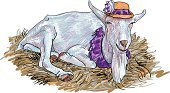Goat,Sketch,One Animal,Coloring,Vertebrate,Ilustration,Young Animal,Isolated,Food,Animal,Livestock,Haystack,Drawing - Activity,Domestic Animals,Mammal,Farm,Tracing,Straw,Nature,Hat,White,Small,Agriculture,Cute