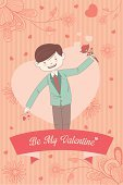 Male,Ilustration,Valentine's Day - Holiday,Men,Little Boys,Vector,Holiday,Cute,Valentine Card,Decoration,Drawing - Art Product,Design Element,People,Love,Greeting Card,Heart Shape,February