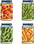 Food,Preserves,Pickled,Spice,Canned Food,Cute,Cucumber,Tin,Set,Computer Graphic,Cartoon,Saturated Color,Drawing - Art Product,Clip Art,Carrot,Tomato,Cultures,Isolated,White,Gourmet,Bean,Nature,Vegetable,Design,Can,Glass - Material,Vibrant Color,Painted Image,Ilustration,Group of Objects,Large Group of Objects,Vector,Collection
