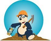 Mole,Cartoon,Animal,Miner,Construction Site,Working,Manual Worker,Underground,Occupation,Oil Lamp,Work Helmet,Pick Axe,Eyeglasses,Walking,Holding,Dirt,Arts And Entertainment,Business,Visual Art,Mammal,Smiling,Business People,No People,Front View,Small Group of Objects,One Animal,Isolated On White,Illustrations And Vector Art