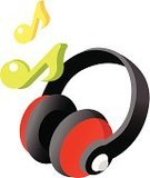 Musical Symbol,Clip Art,Headphones,Color Image,Vector,Ilustration,White Background