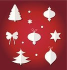 Paper,Star Shape,Bow,Vector,Christmas,Snowflake,Tree,Christmas Tree,Snow,Silhouette,Set,Group of Objects,Christmas Ornament,Christmas Decoration,Winter,Icon Set,Isolated On White,Symbol