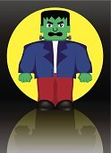 Holiday,Spooky,Evil,Ilustration,Vector,Characters,Moon,People,Frankenstein,Cartoon,Monster,Red,Purple,Green Color,Full Moon,Yellow,Anger,Horror,Fear,Furious,Halloween