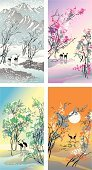 Four Seasons,Season,Chinese Culture,China - East Asia,Art,Backgrounds,Springtime,Mountain,Crane,Pond,Cold - Termperature,Tranquil Scene,The Past,Style,Art Product,Summer,Autumn,Ancient,Sunset,Winter,Lake,Sun,Ice,Bird,Nature,Leaf,Tree,Cultures,Deer,Ilustration,Year,East Asian Culture,Drawing - Art Product,Blossom,Snow,Paintings,Blizzard,Blossoming,Vector,Decoration,Stork,Water,Sunlight,Branch,Posing,East,Sky