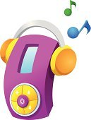 Child,Musical Symbol,Beauty,Clip Art,Headphones,Color Image,MP3 Player,Vector,Ilustration,White Background