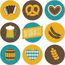 Oktoberfest,Germany,German Culture,Pretzel,Computer Icon,Symbol,Beer - Alcohol,Bavaria,Vector,Design,Flat,Munich,Sausage,Label,Travel,Isolated,Tourism,White Background,Glass,Circle,Autumn,Isolated On White,Heart Shape,Blue,Banner,Hat,Barrel,Holiday,Design Element,Party - Social Event,Cultures,October,Keg,Food,Traditional Festival,Yellow,Placard