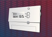 Thermostat,Heat - Temperature,Home Interior,Digital Display,Control,Temperature,Environment,Wall,Domestic Life,Fuel and Power Generation,Clock,Thermometer,Cold - Termperature,Window,Home Finances,Liquid-Crystal Display,Comfortable,Winter,Nature,Midsection,Visual Screen,Timer,Computer Graphic,Fahrenheit,Panel,Concepts And Ideas,Season,Electricity,Degree,Power,Illustrations And Vector Art,Time,Push Button,Pollution