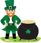 Leprechaun,Pot Of Gold,St. Patrick's Day,Clover,Vector,Gold Colored,Cauldron,Finance,Beard,Gold,Overcoat,Clover Leaf Shape,Ilustration,Arms Akimbo,Holiday,Illustrations And Vector Art,Belt Buckle,Redhead,Coin,Happiness,Boot,Isolated On White,Holidays And Celebrations,Cheerful,Protection,Smiling,Top Hat,One Person,Currency