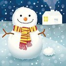 Snowflake,Winter,Snow,Cottage,Christmas,Night,Carrot,Smiling,Scarf,Cold - Termperature,Happiness,Cheerful,Snowman
