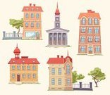 Built Structure,Town,Building Exterior,Cartoon,City,Urban Scene,History,Europe,Victorian Architecture,House,Apartment,Old,Town Hall,Cut Out,Chimney,Architecture,Comfortable,Classic,Red,Real Estate,Vector,Set,Cultures,Street,Isolated,Positive Emotion,Ilustration,Plant,Tower,Residential Structure,Wall,Attic,Roof,Stone Material,Old-fashioned,Clock,Window,Development,Fence,Decor,Architectural Column,Outdoors,Steeple,Retro Revival,Door,Facade,Villa,Tree