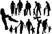 Silhouette,Family,Child,Mother,Baby,People,Parent,Walking,Father,Action,Vector,Happiness,Daughter,Son,Men,Little Boys,Love,Little Girls,Ilustration,Looking At Camera,Design,Posing,Isolated,Image,Painted Image,Arts Abstract,Arts And Entertainment,Illustrations And Vector Art