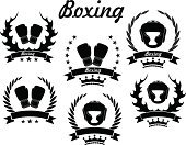 Boxing Glove,Boxing,Sign,Success,Winning,Symbol,Laurel Wreath,Rivalry,Fire - Natural Phenomenon,Sport,Design Element,Isolated,Victory,Black Color,Set,Insignia,Head Protector,Vector,Crown,Fighting,Healthy Lifestyle,Competition