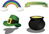 Pot Of Gold,St. Patrick's Day,Rainbow,Clover,Hat,Cooking Pan,Gold,Gold Colored,Banner,Green Color,Wealth,Ribbon,Finance,green and gold,Holidays And Celebrations,Illustrations And Vector Art,Ribbon,Objects/Equipment