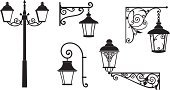 Lantern,Black Color,Blacksmith,Obsolete,Old,Spiral,Elegance,Iron - Metal,Art,Old-fashioned,Art Deco,Design,Style,Collection,swirly,Decor,Outdoors,Craft,Pattern,Design Element,Ilustration,Vector,Swirl,Isolated,Ornate,Retro Revival,Deco,Electric Lamp,wrought,Decoration,Architecture,Metal,Set