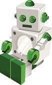 Education,Science,Gift,Clip Art,Child,Color Image,Vector,Ilustration,Robot,White Background
