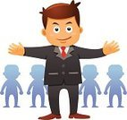Group Of People,People,Concepts,Confidence,In Front Of,High Angle View,Team,Crowd,Individuality,Business,Standing,Men,Vector,Isolated,Celebration,Ilustration,Cartoon,Recruitment,Leadership