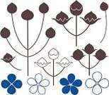 Flax,New Zealand Flax,Sign,Symbol,Set,Isolated,Plant,Design Element,Bouquet,Gray,Vector,Blue,Branch,Ripe,Flower