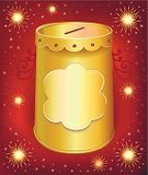 Donation Box,Christmas,Vector,Holiday,Star Shape,Metal,Retail,Copy Space,Yellow,Savings,Global Communications,Festive Mood,template,Isolated,Abstract,Gift,Ilustration,Single Object,festoon,Cylinder,Protection,Backgrounds,Red,High Section,earn,Digitally Generated Image,Tin,Lid,ISTEXT2012,Promotion,Coin Bank,Gold Colored,Ruby,Packaging,Can