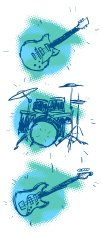 Drum,Guitar,Bass Guitar,Musical Instrument,Cartoon,Music,Bass,Incomplete,Sign,Symbol,Percussion Instrument,Equipment,Computer Icon,String,Blue,Halftone Pattern,Religious Icon,Musical Instrument String,Arts And Entertainment,Music,Green Color,Singing,String Instrument