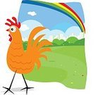 Chicken - Bird,Cartoon,Ilustration,Field,Easter,Park - Man Made Space,Sky,Ornate,Springtime,Grass Area,Flower,Vector,Grass,Green Color,Nature,Spring,Animals And Pets,Farm Animals,Multi Colored,Clear Sky,Holiday,Poultry,Bird