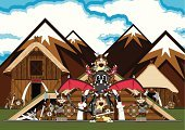 Residential Structure,Vector,Non-Urban Scene,Scandinavian Culture,Hut,Human Head,Fantasy,Scandinavian,Viking,Mythology,Village,norseman,Mountain,Work Helmet,Sword,Thatched Roof,Suit of Armor,Armed Forces,Tail,Wing,Animal Foot,Animal Bone,Blood,History,Horned,Human Bone,Spotted,Dragon,Cute,norse,Animal,Broad Sword,House,Cartoon,Riding,Monster,Reptile