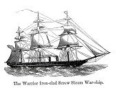 Warship,Military Ship,Image Created 19th Century,Ilustration,Obsolete,Engraved Image,Military,Victorian Style,Armed Forces,Mode of Transport,Black And White,Old-fashioned,History,Antique,Historical Ship,The Past,Styles,Old,Navy,Nautical Vessel,Royal Navy,Battleship,Sailing Ship,Ironclad,British Military,19th Century Style,Retro Revival,HMS Warrior