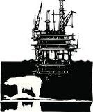 Bear,Oil,Oil Rig,Woodcut,Construction Platform,Well,Fuel and Power Generation,Sea,Corporate Business,Petroleum,Pipeline,Arctic,Endangered Species,Industry,Polar Climate,Drill,Pollution,Fossil Fuel,Shale,Environment,Business,Nature,Exploration