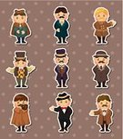 19th Century Style,People,Cartoon,Suit,Retro Revival,One Person,Vector,Style,Isolated,Characters,Men,Fashion,Tie,Little Boys,Hat,Elegance,Cheerful,Beard,Joy,Classical Style,Label,Drawing - Activity,Symbol,Cute,Team Sport,Detective,Set,Doodle,Collection,Party - Social Event,Overcoat,Single Object,Ilustration,Cape,Pipe,Ancient,Group Of People,Manager,Happiness,The Past,Smiling,Fun,Male