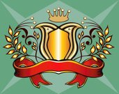 Coat Of Arms,Laurel Wreath,Banner,Medieval,Crown,Ribbon,Award,Gold,Gold Colored,Shield,Ribbon,Elegance,Symbol,Scroll Shape,Decoration,Design,Luxury,Insignia,Label,Part Of
