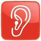 Human Ear,Computer Icon,Red,Square Shape,Vector