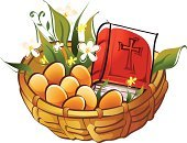 Easter,Basket,Bible,Holy Book,Ilustration,Vector