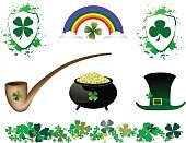 St. Patrick's Day,Clover,England,Scotland,Pot Of Gold,Pipe,Gold Colored,Rainbow,Hat,Pipe - Tube,Green Color,Nature,Plants,Cloud - Sky,Gold,Shield,Insignia,Republic of Ireland