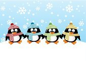 Penguin,Christmas,Cute,Bird,Animal,Cartoon,Black Color,White,Red,Friendship,Happiness,Linen,Image,Snowflake,Hat,Wildlife,Striped,Material,Nature,Scarf,Craft,Fun,Antarctica,Ilustration,Vector,Snow,Winter,Animals In The Wild,South,Clothing
