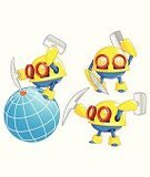 Blue,Red,Yellow,Sphere,Cheerful,Miner,Work Helmet,Hammer,Manual Worker,Playful,Crowbar,Midget,Vector,Globe - Man Made Object,Mascot,Ilustration,Cartoon,Robot,Digging,Electric Lamp