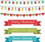 Christmas Lights,Vector,Christmas,Set,Decoration,Banner,Christmas Decoration,Holiday,Ilustration,New Year,Isolated,Party - Social Event,Ribbon,Design Element,New Year's Eve,Multi Colored,Computer Graphic