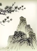 Painted Image,Art,China - East Asia,Chinese Culture,Paintings,Japanese Culture,Japan,Mountain,Branch,Tree,Pine Tree,Landscape,Vector,Ilustration,Ink,Design,Style,Computer Graphic,Backgrounds,Cloud - Sky,Asia,Nature,Cultures,Drawing - Art Product