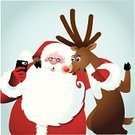 Santa Claus,Selfie,Christmas,Smart Phone,Reindeer,Holiday,Holding,Looking,Carrying,Hat,Self Portrait Photography,Ilustration,Togetherness,Cartoon,Smiling,White,Season,Animal,Cheerful,Deer,Beard,Happiness,Friendship,Red,Joy