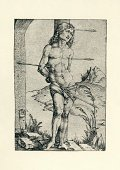 Sebastian - Texas,Saint,Bow and Arrow,Early Renaissance,Antique,16th Century Style,Arrow,Religion,Obsolete,Religious Symbol,Albrecht Durer,Religious Occupation,Old-fashioned,Death,Execution,Martyrdom,Religious Icon,Patron Tequila,Classical Style,Grief,Art And Craft,Art,Catholicism,Christianity,Renaissance,The Past,Styles,Print,Image Created 16th Century,Old,Spirituality,Weapon,Engraved Image,Ilustration,Woodcut,History