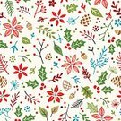 Christmas,Holiday,Pattern,Holly,Ilustration,Vector,Berry Fruit,Berry,Winter,Flower,Wrapping Paper,Single Flower,Christmas Paper,Poinsettia,Leaf,Seamless,Old-fashioned,Doodle,Acorn,Retro Revival,Wallpaper Pattern,Pine Cone,Drawing - Art Product,allover,1940-1980 Retro-Styled Imagery,hand drawn,Multi Colored,Repetition